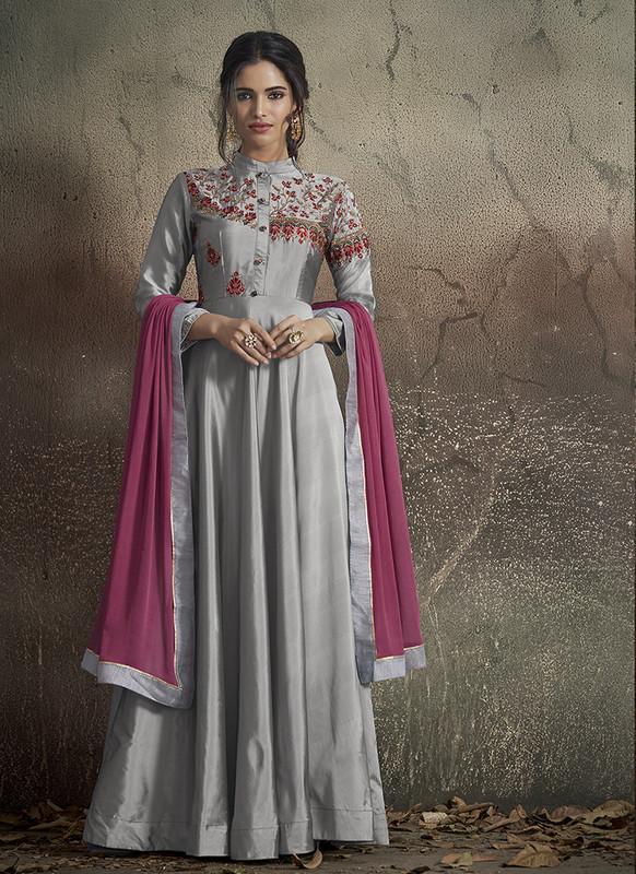 Sareetag Grey  Designer Party Wear Readymade Soft Tapeta Silk Gown