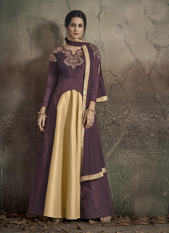 Sareetag Wine, Gold  Designer Party Wear Readymade Soft Tapeta Silk Gown