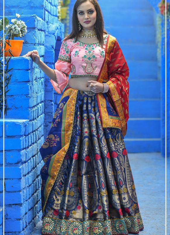 Sareetag Navy Blue  Heavy Designer Weadding Wear Bridal Lehenga