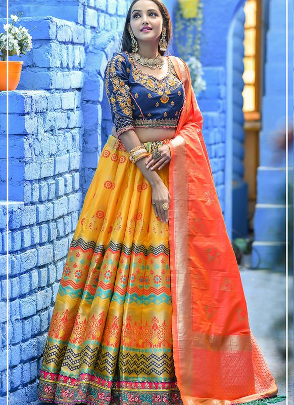 Sareetag Yellow  Heavy Designer Weadding Wear Bridal Lehenga