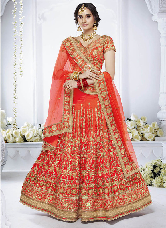 Sareetag Redish Orange  Heavy Designer Weadding Wear Bridal Lehenga Choli