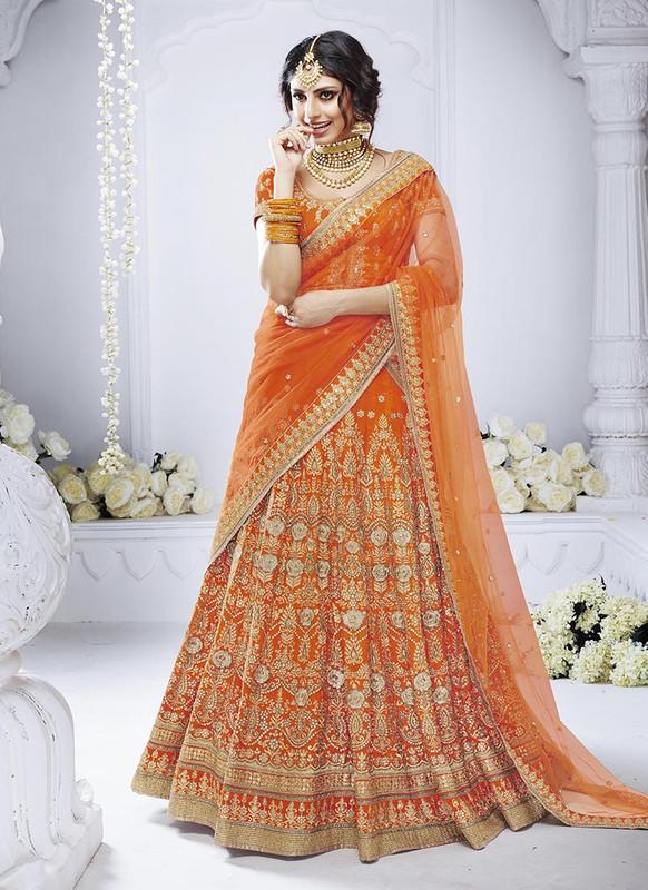 Sareetag Orange  Heavy Designer Weadding Wear Bridal Lehenga Choli