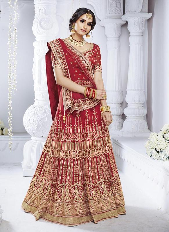 Sareetag Red  Heavy Designer Weadding Wear Bridal Lehenga Choli