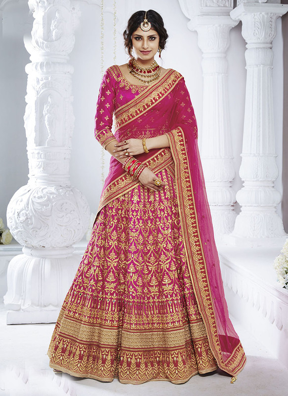 Sareetag Magenta  Heavy Designer Weadding Wear Bridal Lehenga Choli