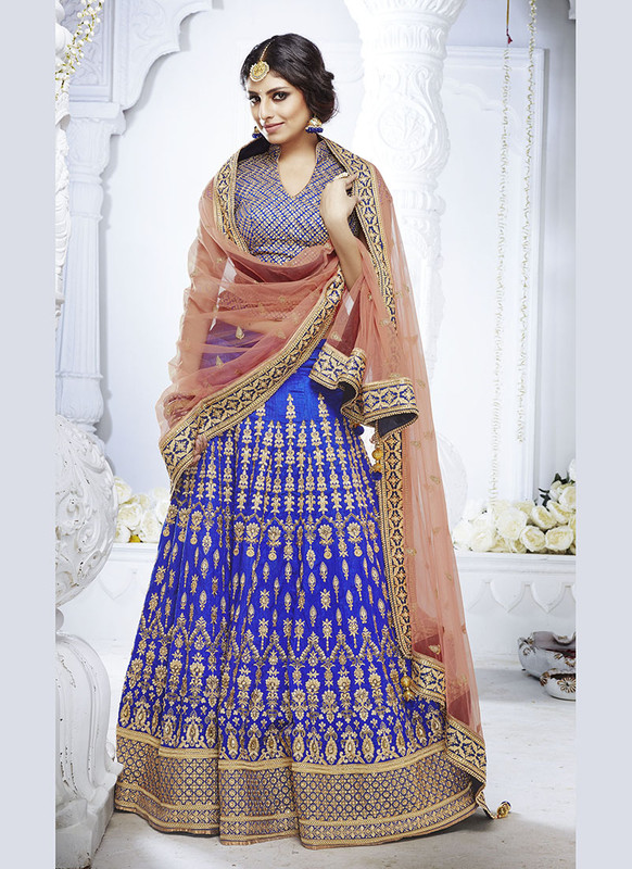 Sareetag Royal Blue  Heavy Designer Weadding Wear Bridal Lehenga Choli
