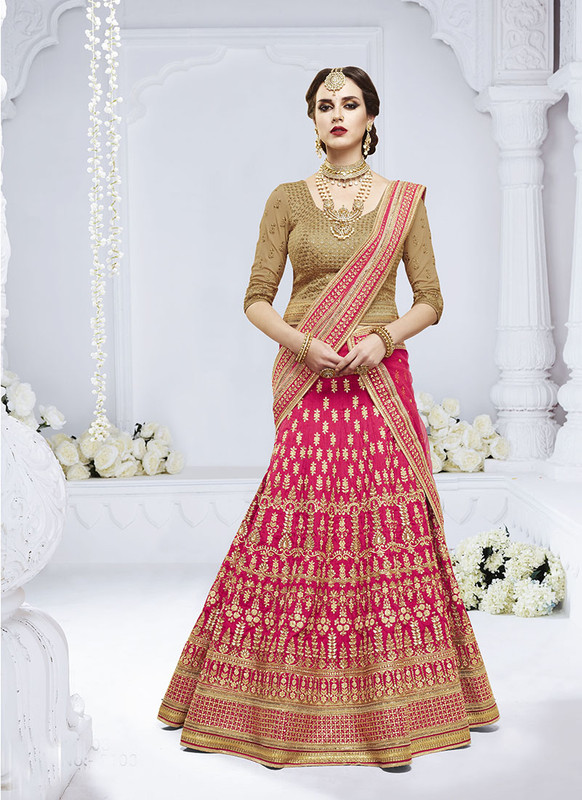 Sareetag Pink  Heavy Designer Weadding Wear Bridal Lehenga Choli