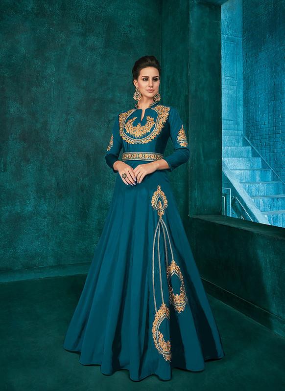 Sareetag Teal Blue  Designer Party Wear Triva Silk Gown