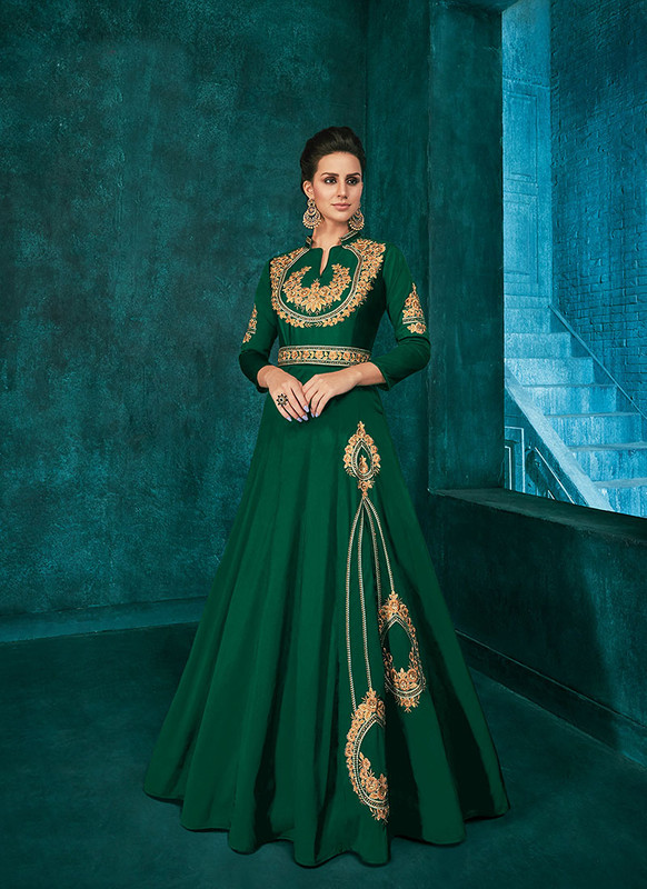 Sareetag Green  Designer Party Wear Triva Silk Gown