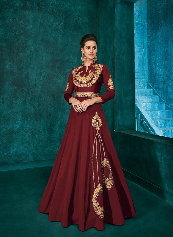 Sareetag Maroon  Designer Party Wear Triva Silk Gown