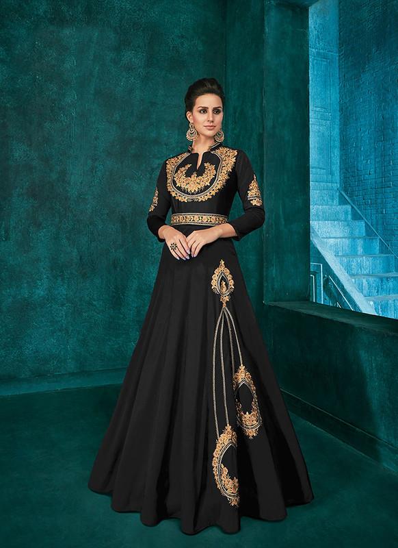 Sareetag Black  Designer Party Wear Triva Silk Gown
