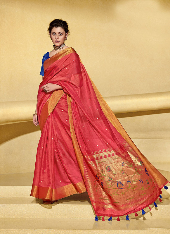 Sareetag Red  Designer Fancy Printed Party Wear Linen Saree