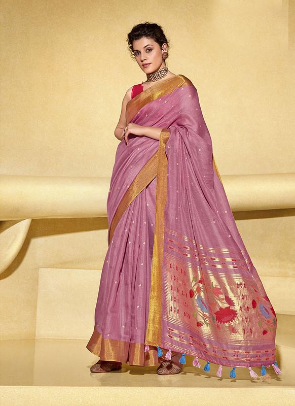 Sareetag Old Rose  Designer Fancy Printed Party Wear Linen Saree