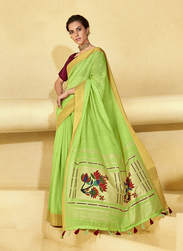 Sareetag Light Green  Designer Fancy Printed Party Wear Linen Saree
