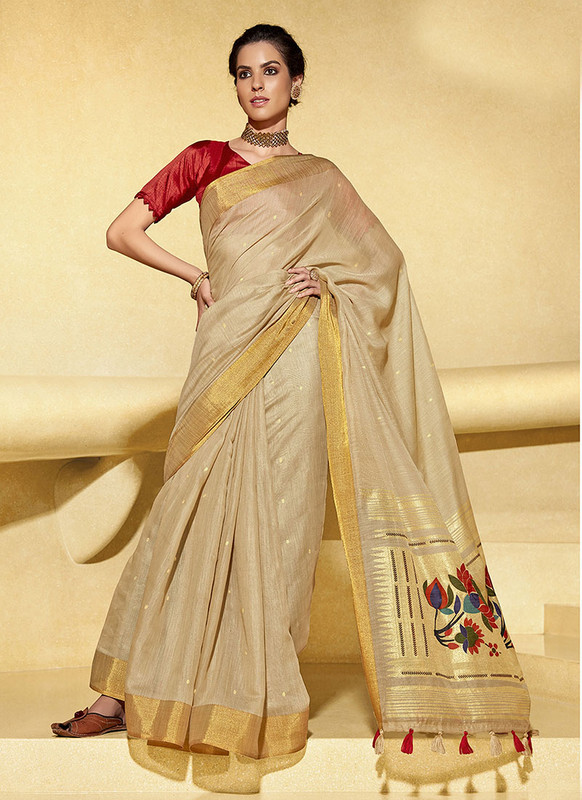 Sareetag Beige  Designer Fancy Printed Party Wear Linen Saree
