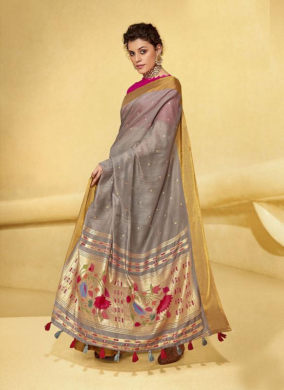 Sareetag Grey  Designer Fancy Printed Party Wear Linen Saree