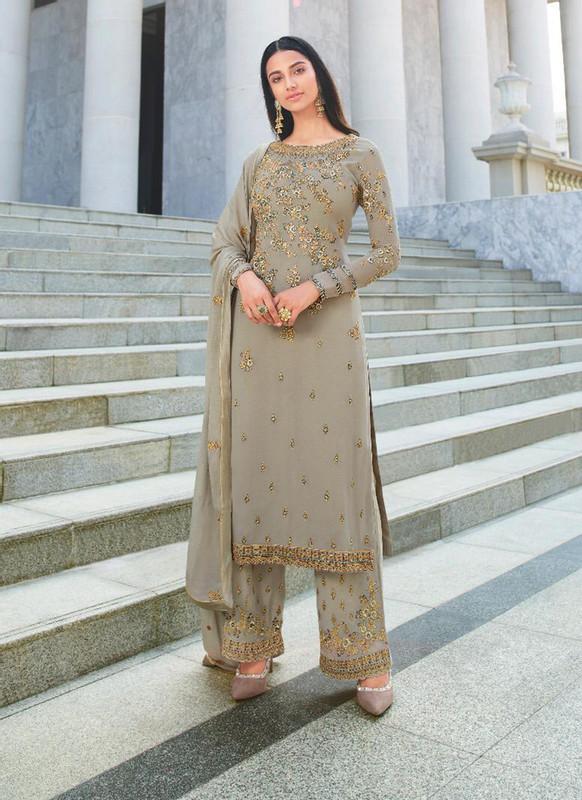 Glossy Gery  Heenaz Designer Palazzo Pant Style Designer Salwar Suit