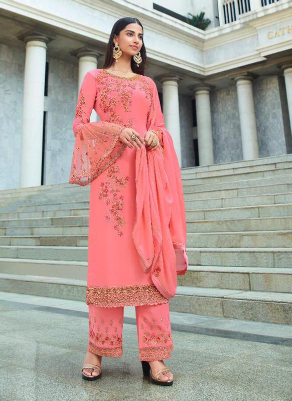 Glossy Pink  Heenaz Designer Palazzo Pant Style Designer Salwar Suit