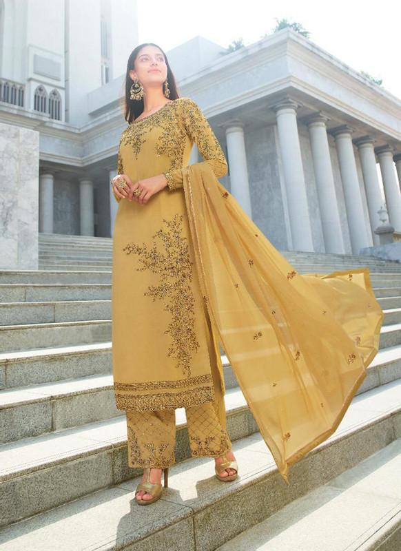 Glossy Mustard  Heenaz Designer Palazzo Pant Style Designer Salwar Suit