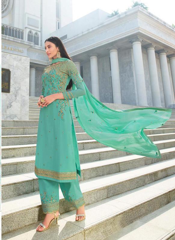 Glossy Sky Blue  Heenaz Designer Palazzo Pant Style Designer Salwar Suit