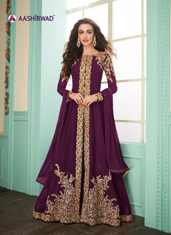 Aashirwad Almirah Gold Maroon Color Designer Suit
