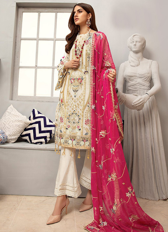 Sareetag Off White Latest Heavy Designer Pakistani Style Salwar Suit