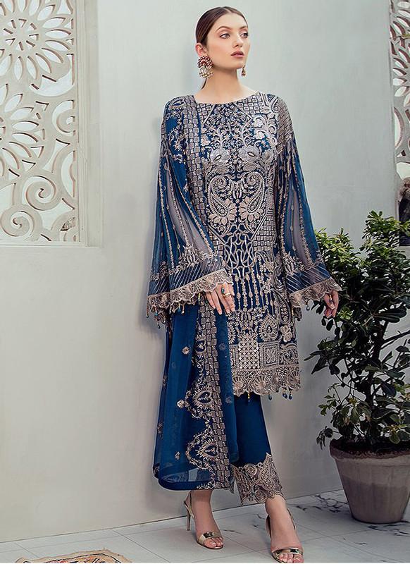 Sareetag Blue Heavy Designer Pakistani Style Salwar Suit