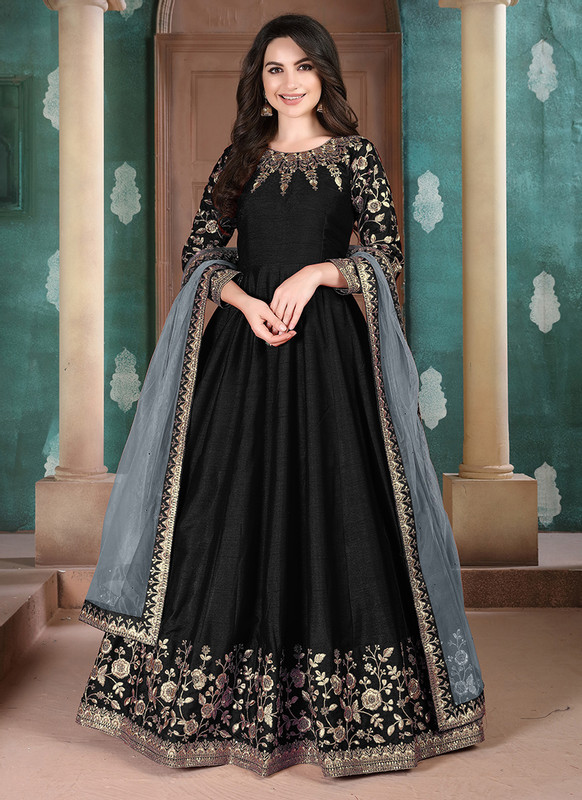 Twisha Aanaya Black Color Adda Silk Designer Party Wear Anarkali Salwar Kameez