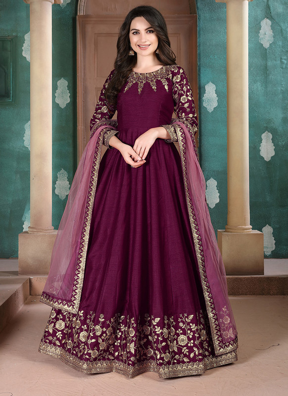 Twisha Aanaya Maroon Color Adda Silk Designer Party Wear Anarkali Salwar Kameez