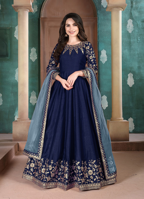 Twisha Aanaya Blue Color Adda Silk Designer Party Wear Anarkali Salwar Kameez