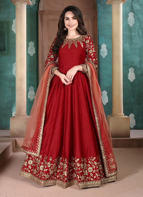 Twisha Aanaya Red Color Adda Silk Designer Party Wear Anarkali Salwar Kameez