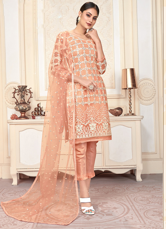 Varni Zeeya Husna Orange Designer Net Salwar Suit with Classic Dupatta