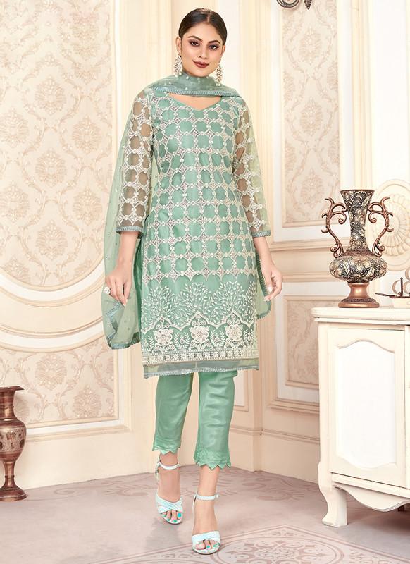 Varni Zeeya Husna Green Designer Net Salwar Suit with Classic Dupatta