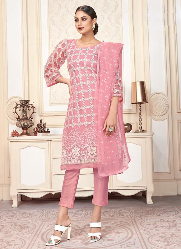 Varni Zeeya Husna Pink Designer Net Salwar Suit with Classic Dupatta