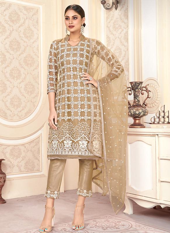 Varni Zeeya Husna Brown Designer Net Salwar Suit with Classic Dupatta