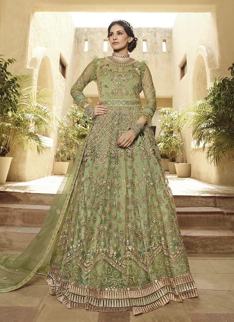 Glossy Amyra Shaivi Green Designer Wedding Wear Suit