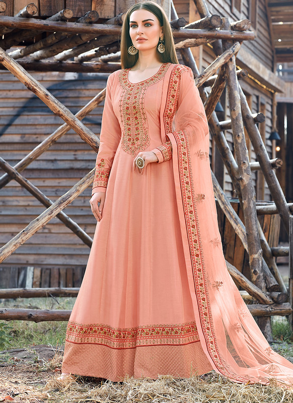 Bella Kashish Peach Designer Party Wear Salwar Kameez
