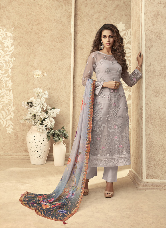 Zoya Grace Designer Light Grey Color Suit with Floral Dupatta