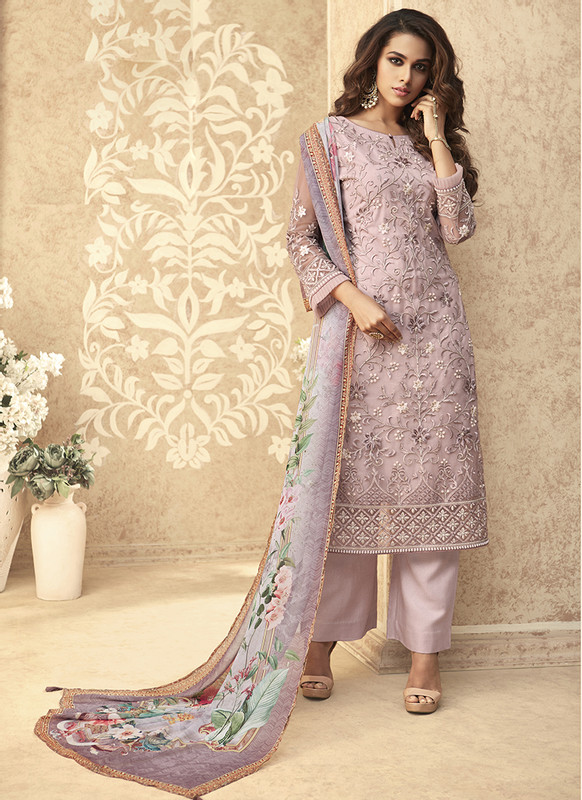 Zoya Grace Designer Light Purple Color Suit with Floral Dupatta