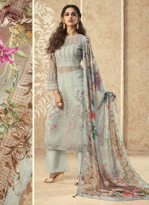 Zoya Grace Designer Light Blue Color Suit with Floral Dupatta