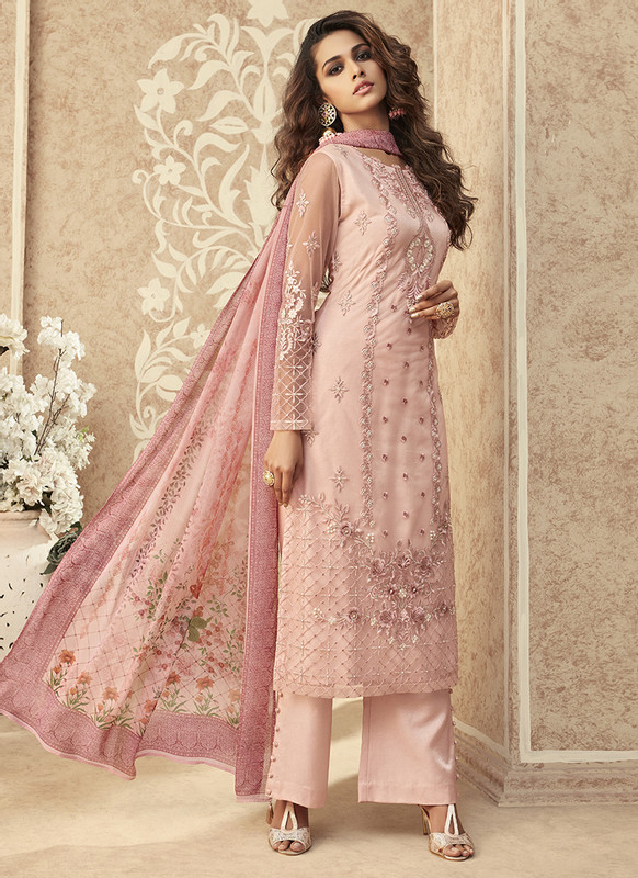 Zoya Grace Designer Light Pink Color Suit with Floral Dupatta