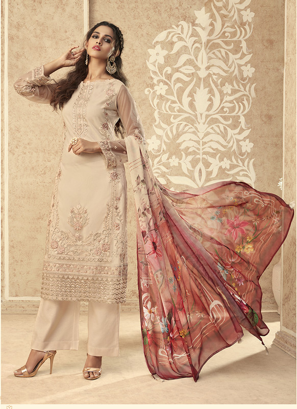 Zoya Grace Designer Light Dust Green Color Suit with Floral Dupatta