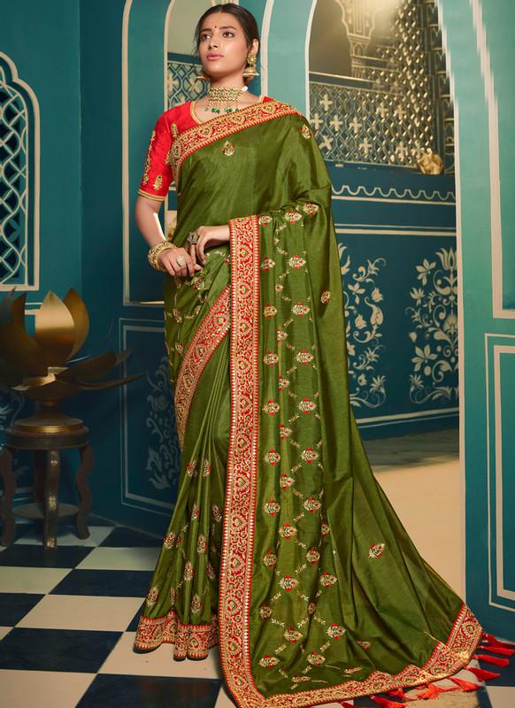 Sareetag Embroidred Designer Party Wear Silk Saree
