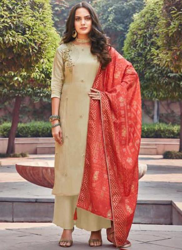 Sareetag Beige Silk Embroidered Work Party Wear Palazzo Salwar Suit