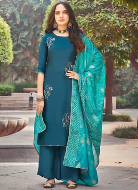 Sareetag Blue Silk Embroidered Work Party Wear Palazzo Salwar Suit