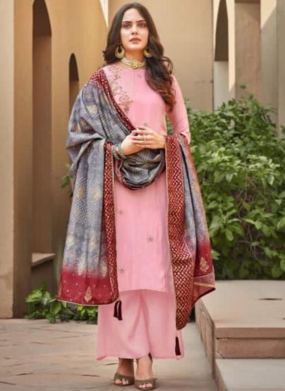 Sareetag Pink Silk Embroidered Work Party Wear Palazzo Salwar Suit
