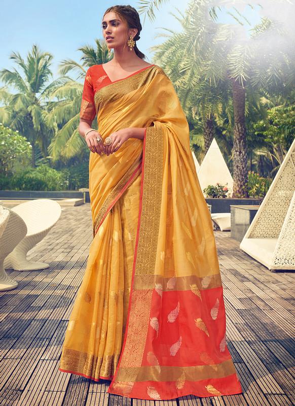 Sareetag Sangam Neem Jari Cotton Stunning Wedding Saree