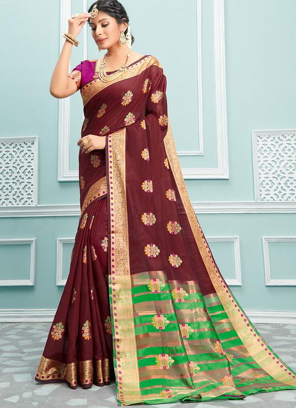 Sareetag Sangam Palak Stunning Wedding Saree
